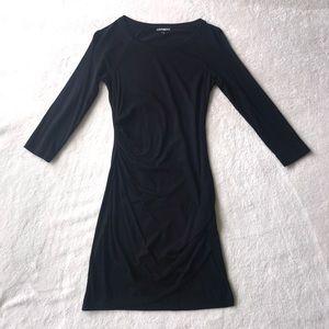Express Black 3/4 Sleeve Boat Neck Dress XS
